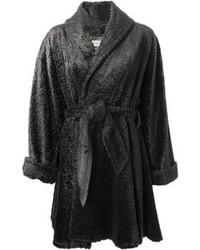 Abrigo de piel en gris oscuro de Lanvin