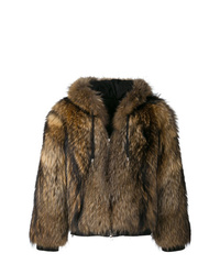 Abrigo de piel marrón de Balmain