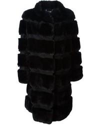 Abrigo de piel negro de Diane von Furstenberg