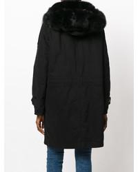 Abrigo de piel negro de Ermanno Scervino