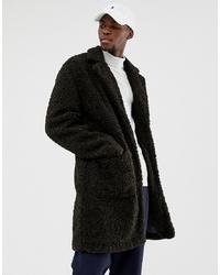 Abrigo de piel verde oscuro