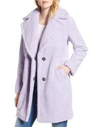 Abrigo de piel violeta claro