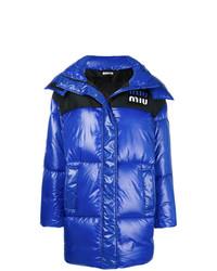 Abrigo de plumón azul de Miu Miu