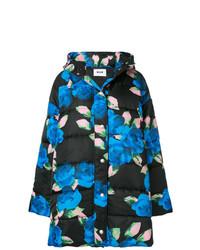 Abrigo de plumón con print de flores negro de MSGM