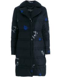 Abrigo de plumón estampado azul marino de Salvatore Ferragamo