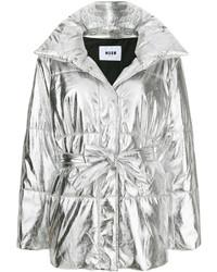 Abrigo de plumón plateado de MSGM