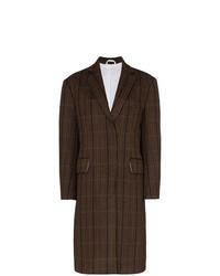 Abrigo de tartán en marrón oscuro de Calvin Klein 205W39nyc