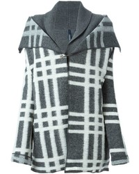 Abrigo de tartán gris de Woolrich