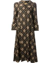 Abrigo de tartán marrón de Biba
