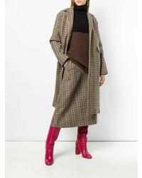 Abrigo de tartán marrón de Rochas