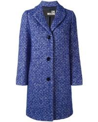 Abrigo de tweed azul de Love Moschino