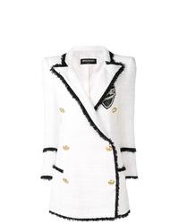 Abrigo de tweed blanco de Balmain