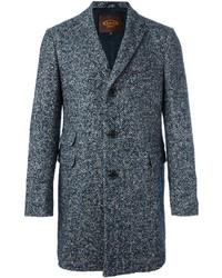 Abrigo de tweed de espiguilla azul de Tod's