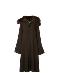Abrigo en marrón oscuro de Yohji Yamamoto Vintage