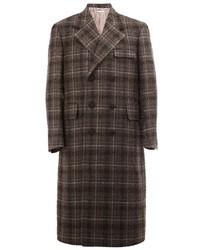 Abrigo largo a cuadros en gris oscuro de Thom Browne