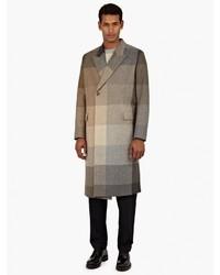 Abrigo largo a cuadros marrón