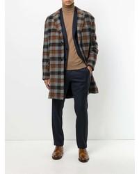 Abrigo largo a cuadros marrón de Lanvin