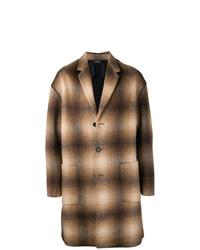 Abrigo largo a cuadros marrón de N°21
