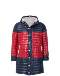 Abrigo largo acolchado en azul marino y rojo de Thom Browne