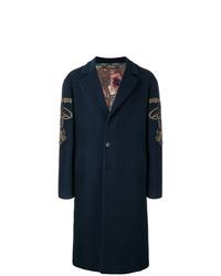 Abrigo largo bordado azul marino de Etro
