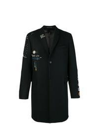 Abrigo largo bordado negro de Valentino