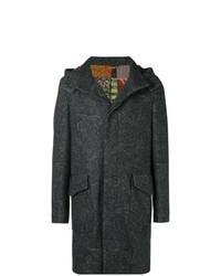 Abrigo largo con print de flores en gris oscuro
