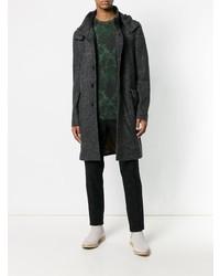 Abrigo largo con print de flores en gris oscuro de Etro
