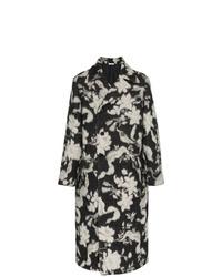 Abrigo largo con print de flores en gris oscuro de Jil Sander