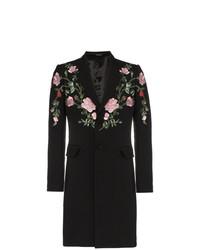 Abrigo largo con print de flores negro de Alexander McQueen
