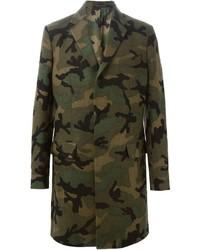Abrigo largo de camuflaje verde oliva de Valentino