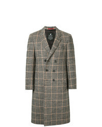 Abrigo largo de cuadro vichy marrón claro