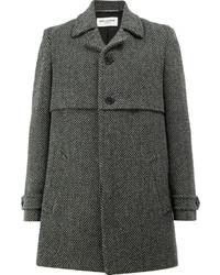 Abrigo largo de espiguilla en gris oscuro de Saint Laurent