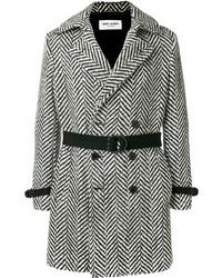 Abrigo largo de espiguilla en negro y blanco de Saint Laurent