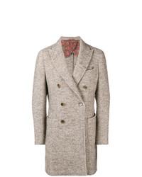Abrigo largo de espiguilla marrón claro de Etro