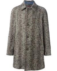 Abrigo largo de espiguilla marrón de Jacob Cohen