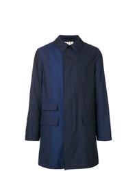 Abrigo largo de rayas verticales azul marino
