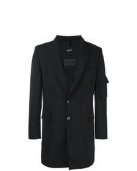Abrigo largo de rayas verticales negro