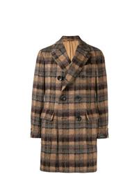 Abrigo largo de tartán marrón de Gabriele Pasini