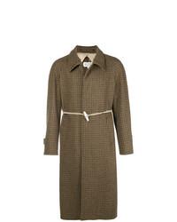Abrigo largo de tartán marrón de Maison Margiela