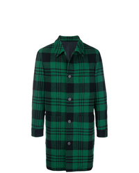 Abrigo largo de tartán verde oscuro de AMI Alexandre Mattiussi