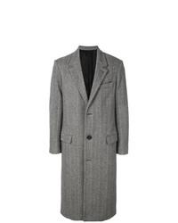 Abrigo largo en zig zag en negro y blanco de AMI Alexandre Mattiussi