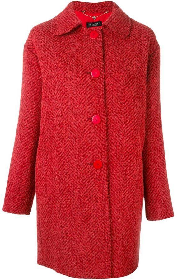 auténtico último tienda de descuento Abrigo rojo de Twin-Set
