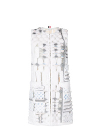 Abrigo sin mangas de pelo gris de Thom Browne