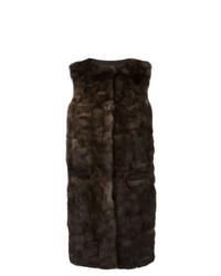Abrigo sin mangas en marrón oscuro de Liska