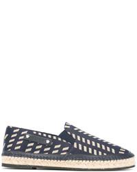 Alpargatas de cuero con estampado geométrico azules de Versace