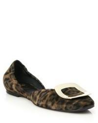 Bailarinas de ante de leopardo en marrón oscuro