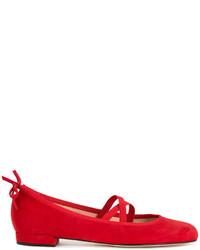 Bailarinas de ante rojas de Stuart Weitzman