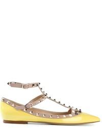 Bailarinas de cuero amarillas de Valentino Garavani