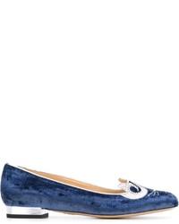 Bailarinas de cuero azules de Charlotte Olympia