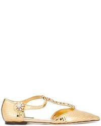 Bailarinas de cuero con adornos doradas de Dolce & Gabbana
